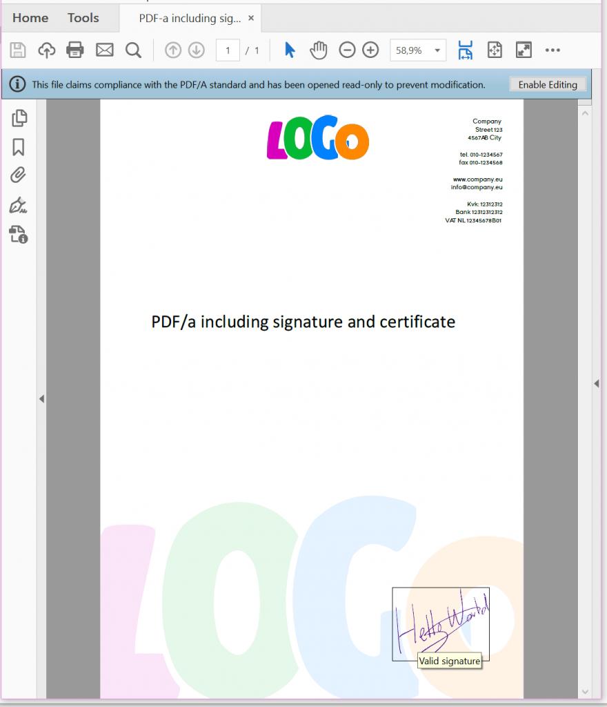 PDF/a inclusief handtekening en certificaat